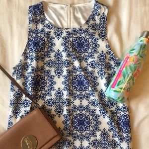 Blue Floral Summer Shift Dress Small Patterned